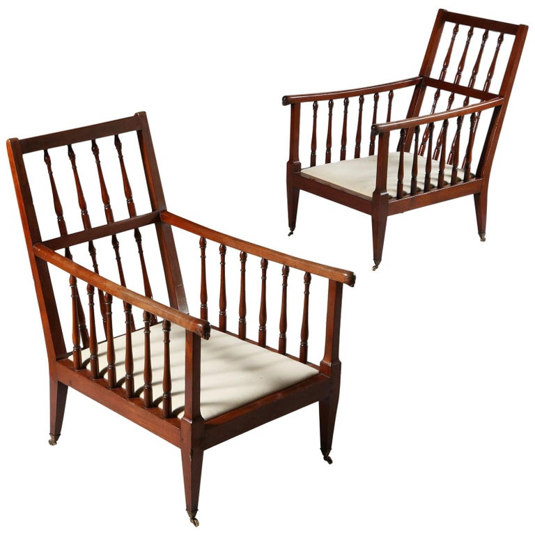 Pair Of Large Late 19th Century Mahogany Wood English Library Armchairs For