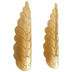 Pair of Large Leaf Murano Glass Mid-Century Modern Sconces by Barovier, 1970s