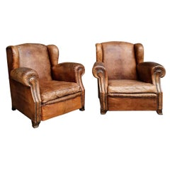 Pair of Large Leather Club Armchairs