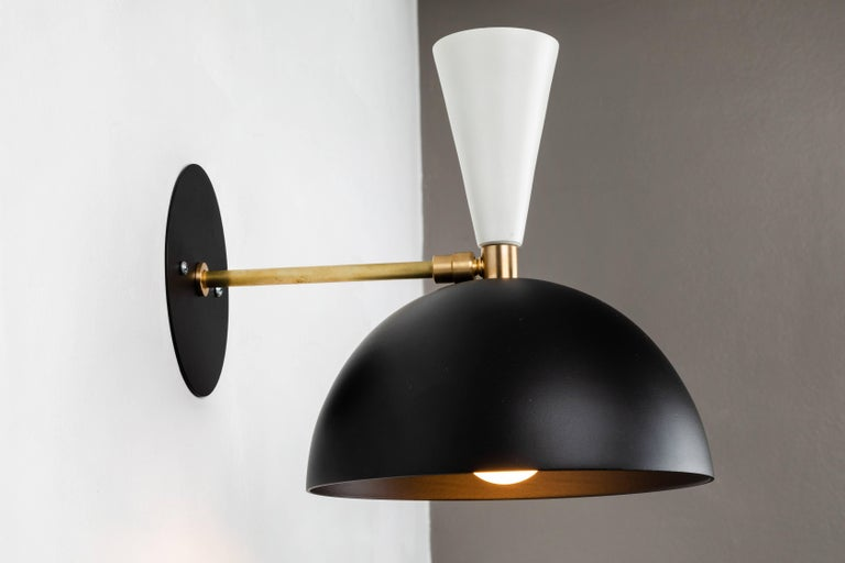 American Pair of Large 'Lola II' Sconces in Black and White For Sale