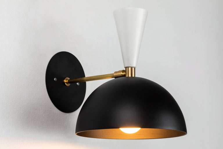Pair of Large 'Lola II' Sconces in Black and White In Excellent Condition For Sale In Glendale, CA