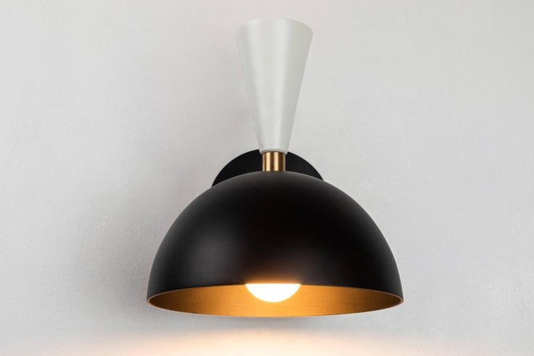 Contemporary Pair of Large 'Lola II' Sconces in Black and White For Sale