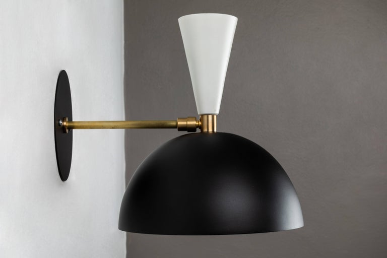 Pair of Large 'Lola II' Sconces in Black and White For Sale 1