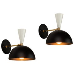 Pair of Large 'Lola II' Sconces in Black and White