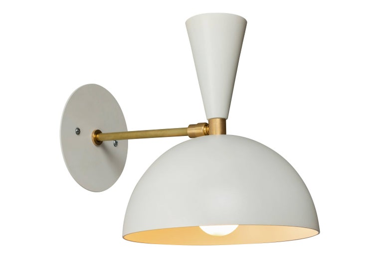 Pair of 'Lola' brass and metal adjustable sconces in white. Hand-fabricated by Los Angeles based designer and lighting professional Alvaro Benitez, these highly refined sconces are reminiscent of the iconic midcentury Italian designs of Arteluce and