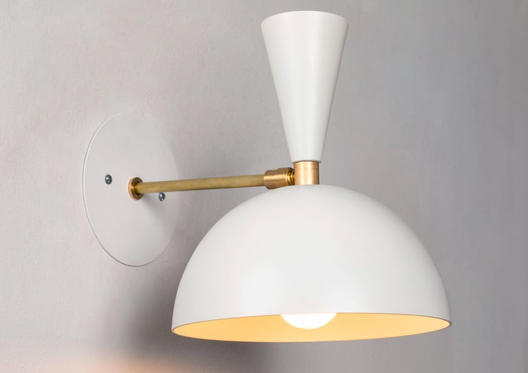 Mid-Century Modern Pair of Large 'Lola II' Sconces in White For Sale