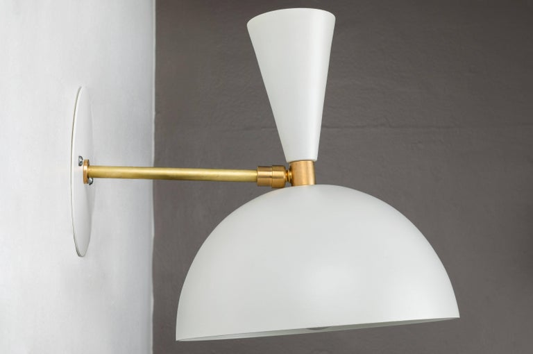 Brass Pair of Large 'Lola II' Sconces in White For Sale