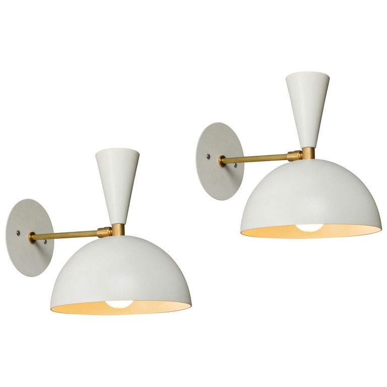 Pair of Large 'Lola II' Sconces in White For Sale