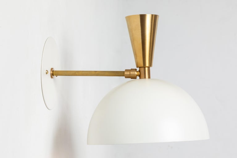Pair of Large 'Lola II' Sconces in White Metal and Brass For Sale 4