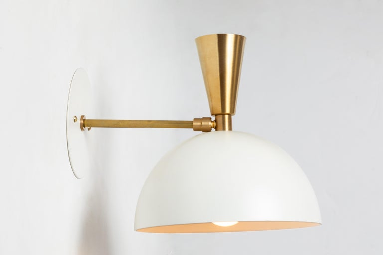 Pair of Large 'Lola II' Sconces in White Metal and Brass For Sale 5