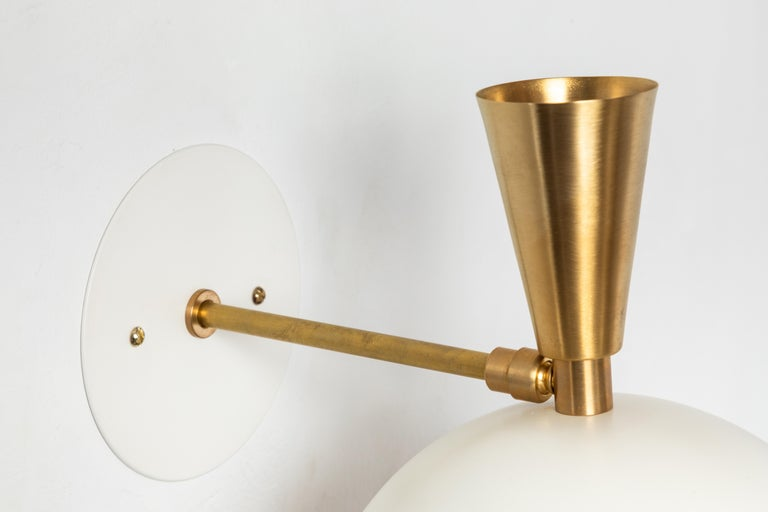 Pair of Large 'Lola II' Sconces in White Metal and Brass For Sale 7