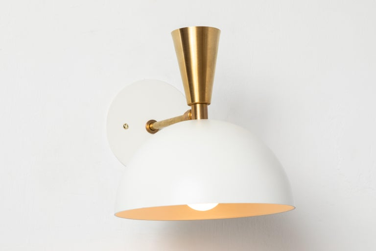American Pair of Large 'Lola II' Sconces in White Metal and Brass For Sale