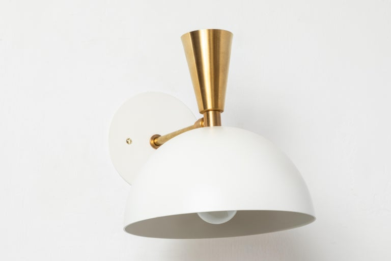 Pair of Large 'Lola II' Sconces in White Metal and Brass In New Condition For Sale In Glendale, CA