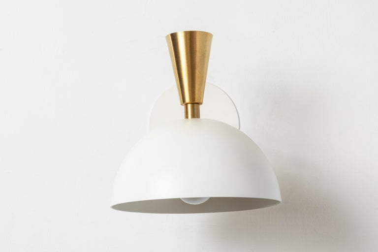 Contemporary Pair of Large 'Lola II' Sconces in White Metal and Brass For Sale