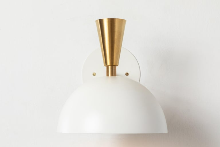 Pair of Large 'Lola II' Sconces in White Metal and Brass For Sale 1