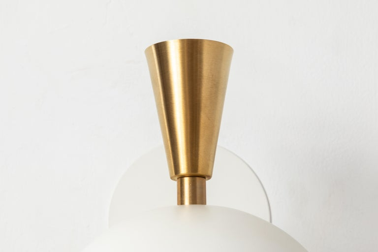 Pair of Large 'Lola II' Sconces in White Metal and Brass For Sale 2