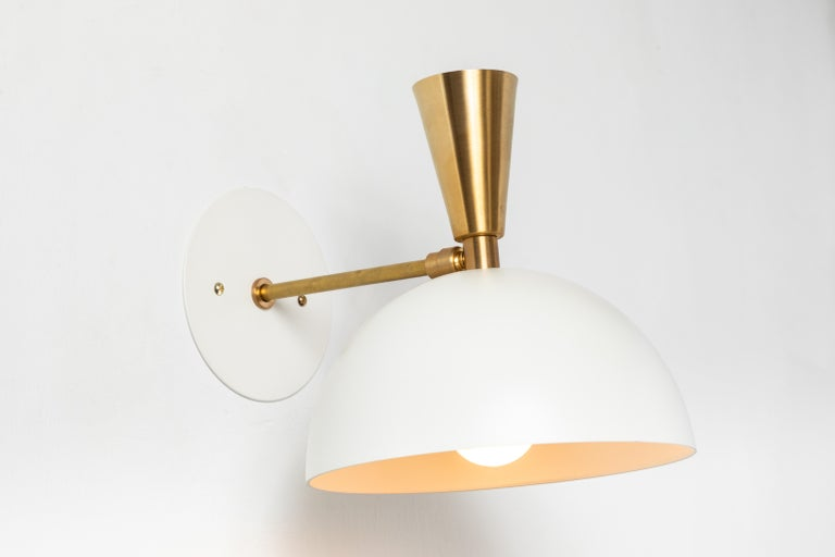 Pair of Large 'Lola II' Sconces in White Metal and Brass For Sale 3