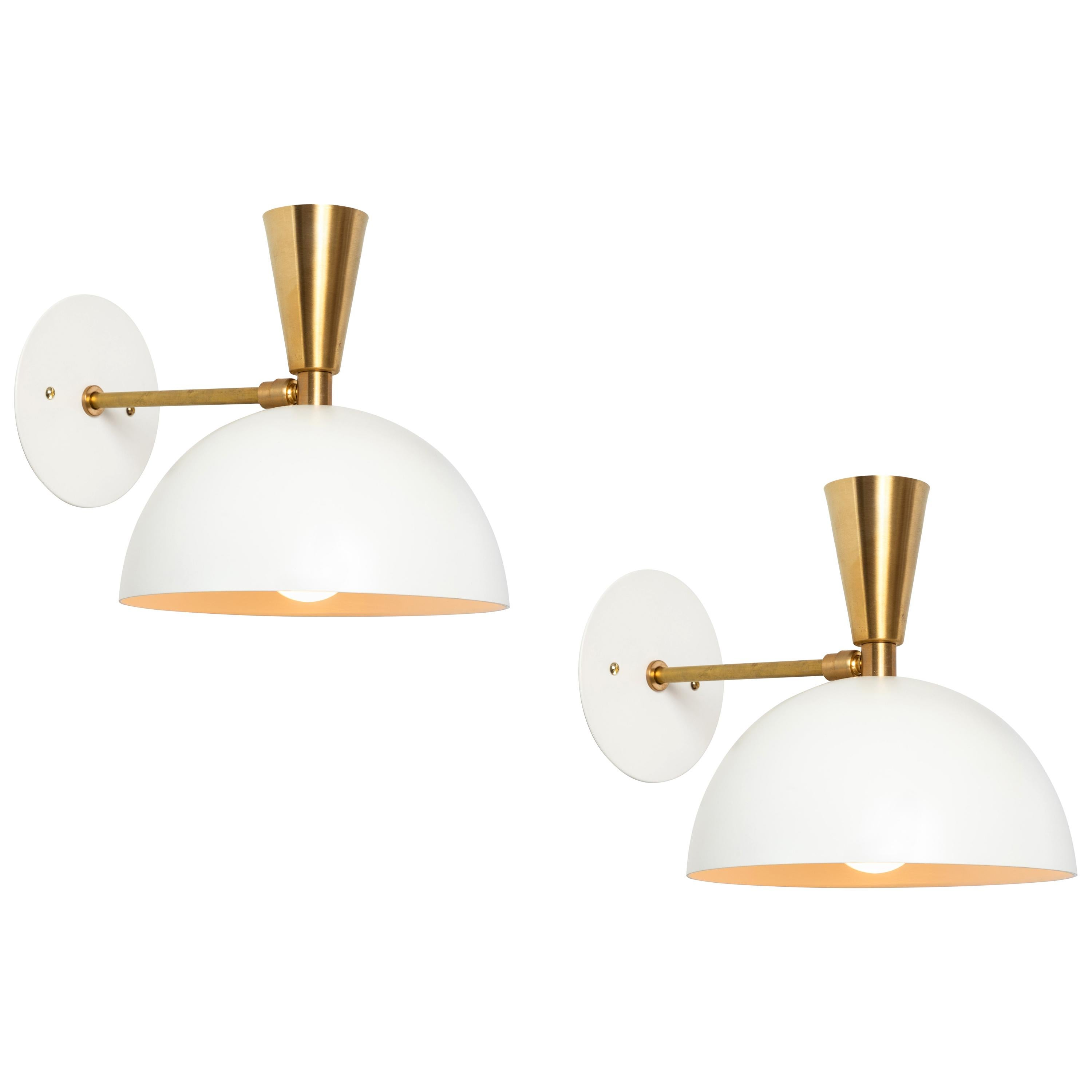 Pair of Large 'Lola II' Sconces in White Metal and Brass