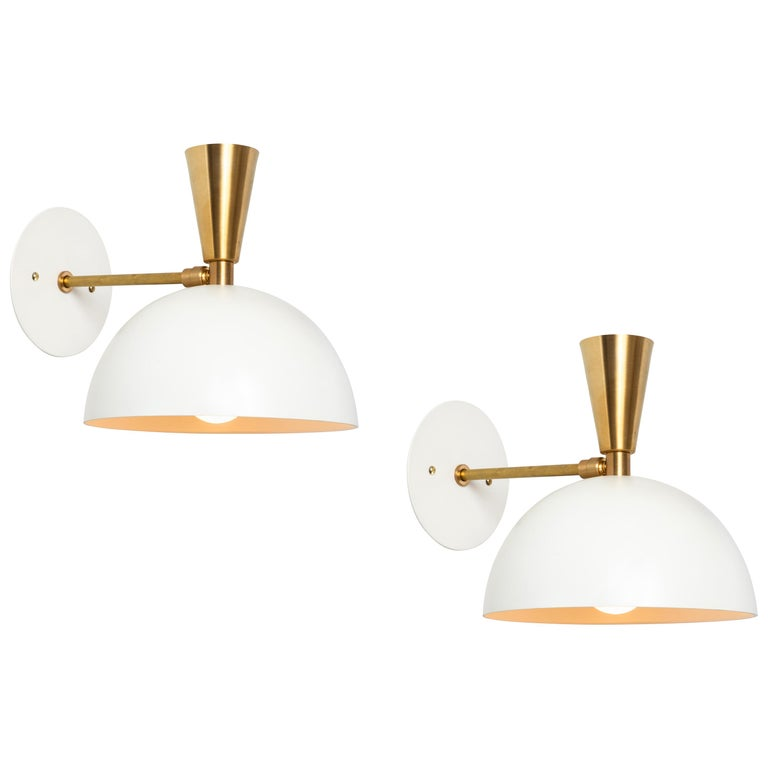 Pair of Large 'Lola II' Sconces in White Metal and Brass For Sale