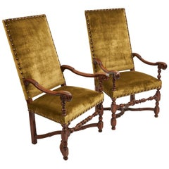 Pair of Large Louis XIII Carved Beech Armchairs, French, 17th Century