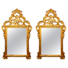 Pair of Large Louis XV Style Carved  Mirrors