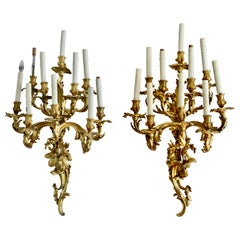 Pair of Large Louis XV Style Ormolu Ten-Light Wall Appliques, 19th Century