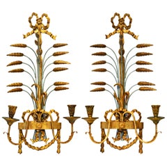 Pair of Large Louis XVI Style Carved Giltwood Wall Sconces by Palladio, Italy