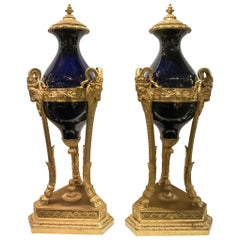 Pair of Large Louis XVI Style Cobalt Blue Sevres Bronze Mounted Urns