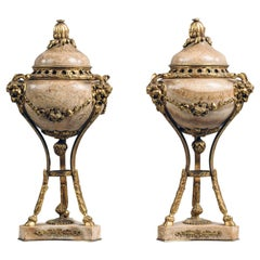 Pair of Large Louis XVI Style Gilt-Bronze and Marble Cassolettes