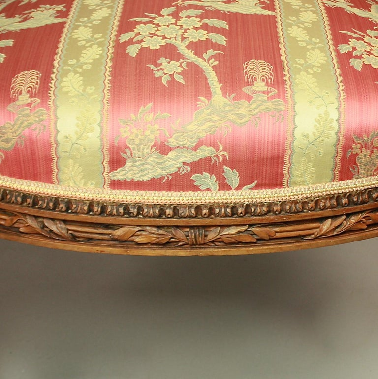 Pair of Large Louis XVI Style Walnut Fauteuils or Armchairs For Sale 4