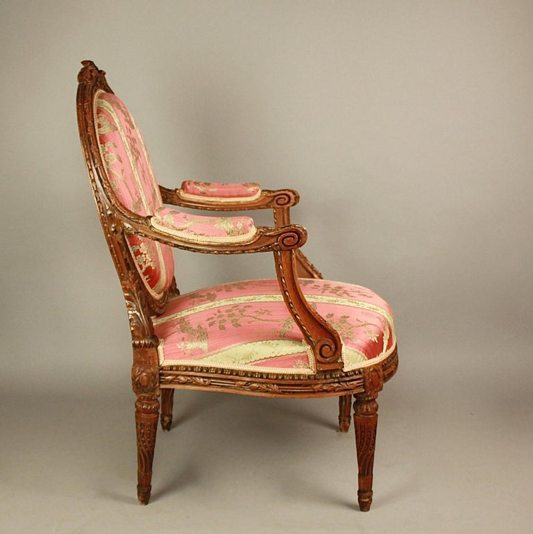 Carved Pair of Large Louis XVI Style Walnut Fauteuils or Armchairs For Sale