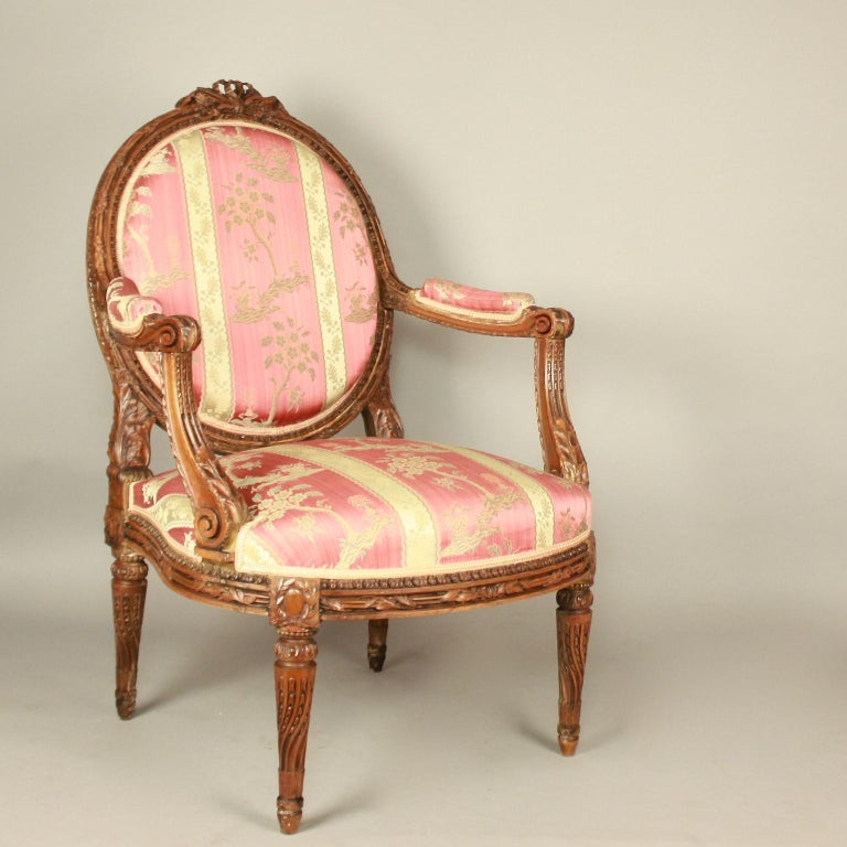 Pair of Large Louis XVI Style Walnut Fauteuils or Armchairs For Sale 1