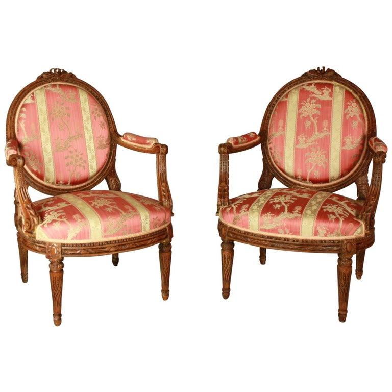 Pair of Large Louis XVI Style Walnut Fauteuils or Armchairs For Sale