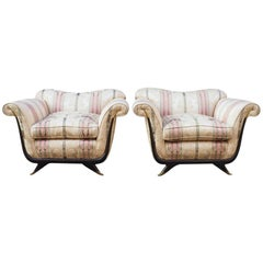 Pair of Large Lounge Chairs Attributed to Guglielmo Ulrich, Circa 1940