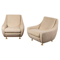 Pair of Large Lounge Chairs in the Style Marco Zanuso