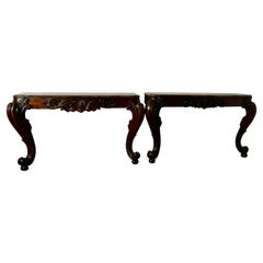 Pair of Large Mahogany Marble Top Console Tables