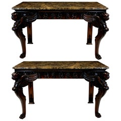 Pair of Large Mahogany 18th Century Style Console Tables