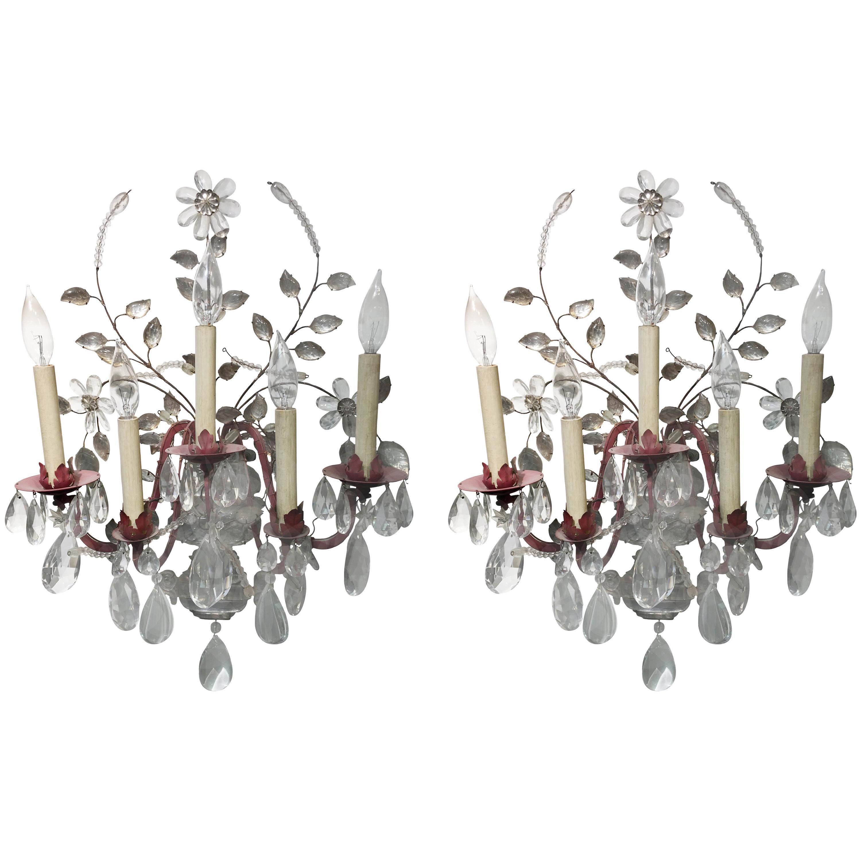 Pair of Maison Baguès Crystal Flower Scones