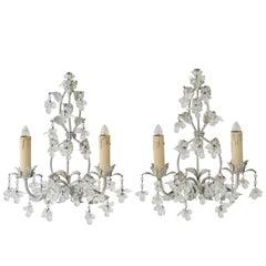Pair of Large Maison Baguès Style Glass Flower Scones