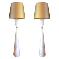 Pair of Large Marble and Brass Mid-Century Modern Floor Lamps, Italy, 1980s