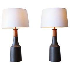 Pair of Large Martz Lamps in Matte Black Glaze