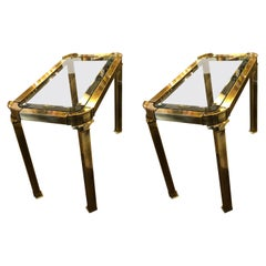 Pair of Large Mastercraft Brass Side Tables with Glass Inserts