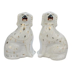 Pair of Large Matched Antique Staffordshire Pottery Spaniel Dog Figurines