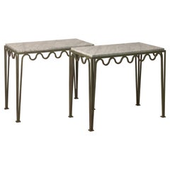 Pair of Large 'Meandre' Verdigris Steel and Marble Night Stands by Design Frères