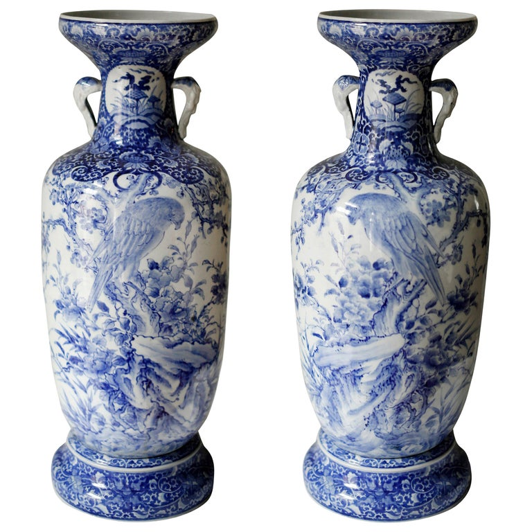 Pair of Large Meiji Period Blue and White Porcelain Vases For Sale