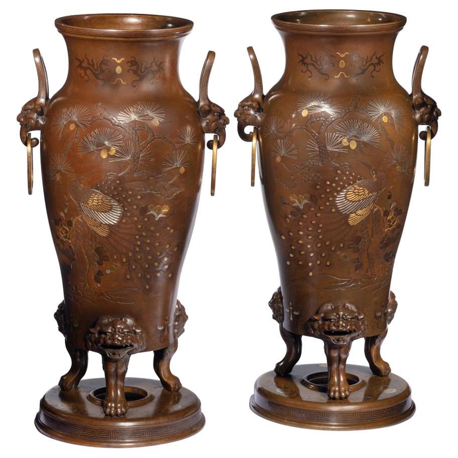 Pair of Large Meiji Period Bronze Vases