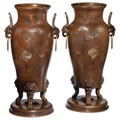 Pair of Large Meiji Period Bronze Vases