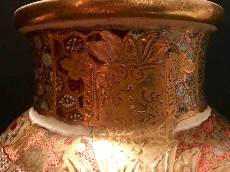 Pair of Large, Meiji Period, Japanese Satsuma Vases with Opulent Gilt For Sale 6