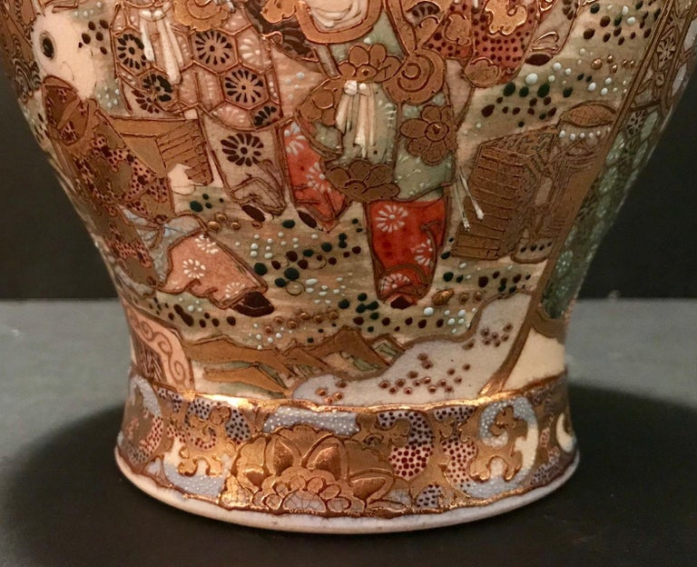 Pair of Large, Meiji Period, Japanese Satsuma Vases with Opulent Gilt For Sale 7