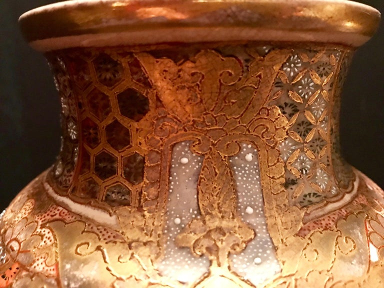 Pair of Large, Meiji Period, Japanese Satsuma Vases with Opulent Gilt For Sale 8
